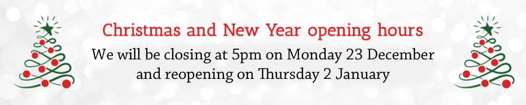 We will be closing at 5pm on Monday 23 December and reopening on Thursday 2 January
